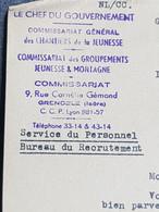 Chantiers De La Jeunesse Commissaire Groupement De Grenoble / Lettre Du Chef Du Gouvernement WW2 Militaria - WW II