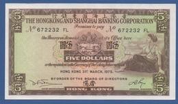 HONG KONG - HSBC - P.181f – 5 Dollars 31.03.1975 UNC  Serie 672232 FL - Hongkong