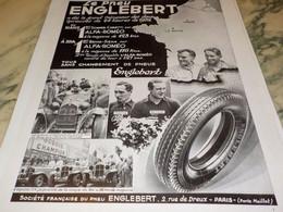 ANCIENNE PUBLICITE PNEUS ENGLEBERT GRAND PRIX LE MANS  1934 - Sonstige