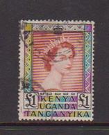 KENYA  UGANDA   TANGANYIKA    1954    £1  Red  And  Black    USED - Kenya, Uganda & Tanganyika