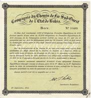 Titre Ancien - Compagnie Du Chemin De Fer Sud-Ouest De L'Etat De Bahia - Titre De 1915 - - Ferrovie & Tranvie