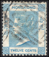 Hong Kong 1863-71 12c Pale Greenish-blue Crown CC Fine Used. - Used Stamps