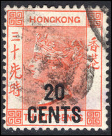 Hong Kong 1885 20c On 30c Orange-red Fine Used. - Used Stamps