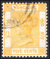 Hong Kong 1900-01 5c Yellow Crown CA Fine Used. - Used Stamps