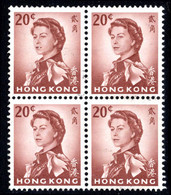Hong Kong 1966-72 20c Red-brown Chalky Paper Block Of 4 Fine Used. - Unused Stamps