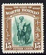 North Borneo 1939 Dyak 15c (from Def Set) Lightly Mounted Mint, SG 311 - North Borneo (...-1963)