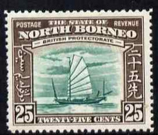 North Borneo 1939 Native Boat 25c (from Def Set) Lightly Mounted Mint, SG 313 - North Borneo (...-1963)