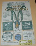 """1912  PUBBLICITA'  TEATRO COSTANZI ROMA  24  X 15,50 CENTIMETRI + PUBBLICITA' """"FRATELLI GONDRAND"""" SUL RETRO DELLA PRIMA - Altri"""