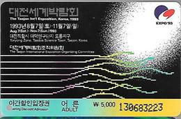 TICKET Plastic-1993-TICKET ENTREE Adulte-EXPO INTERNATIONALE KOREA-Daejon-Développement Durable-TBE/RARE - Tickets - Vouchers