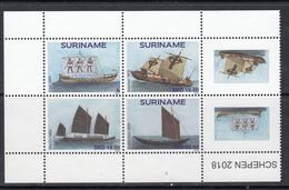 2018 Surinam Sailing Ships History  Complete Block Of 4 + Tabs MNH  @ BELOW FACE VALUE - Surinam