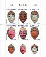 2018 Surinam Masks Culture Complete Block Of 6 + Tabs MNH  @ BELOW FACE VALUE - Surinam