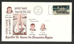 USA 1972 SPACE COVER APOLLO 16 SATURN 5 LAUNCH COMMEMORATIVE COVER - Event Covers