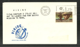 USA 1975 SPACE COVER VIKING TC-3 2ND MISSION TO MARS COMMEMORATIVE COVER - Event Covers