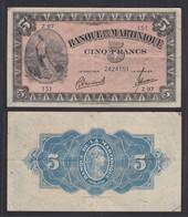 Martinique 5 Francs Banknote 1942 Pick 16b VF (3)   (29625 - Andere - Amerika