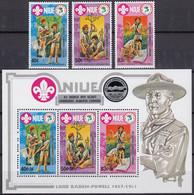 NIUE 1983 15th World Scout Jamboree, Alberta, Canada, Set Of 3 & M/S MNH - Niue