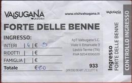 ITALIA - ITALY - ITALIE - Levico Terme - Forte Delle Benne - Biglietto D'ingresso Gruppo Di 4 Persone Intero - Usato - Tickets - Vouchers
