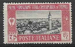 COLONIE ITALIANE LIBIA 1927 1°FIERA DI TRIPOLI SASS. 70 MNH XF - Libia