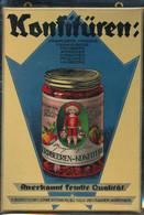 Lithographiertes Blechschild Wittenberg Firma H. Bourzutschky, Konfitüren Wittenberg Und Crailsheim 17,5x24,5 Cm, Selten - Manifesti