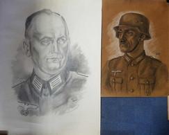Soldatenporträt Bleistift 43x60 Cm, Kunstvoll Ausgeführt Sign. A. Wolf, Wer? - Manifesti