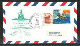 USA 1981 SPACE COVER COLUMBIA SHUTTLE LANDING EDWARDS AFB COMMEMORATIVE COVER - Event Covers