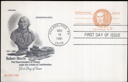 USA - 1981 - FDC - Card - Robert Morris - A1RR2 - 1981-00