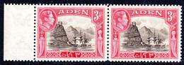 ADEN - 1939 3 ANNA KGVI DEFINITIVE STAMP FINE MNH HORIZONTAL PAIR WITH MARGIN ** SG 22 X 2 - Aden (1854-1963)