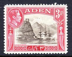 ADEN - 1939 3 ANNA KGVI DEFINITIVE STAMP FINE MOUNTED MINT MM * SG 22 REF B - Aden (1854-1963)