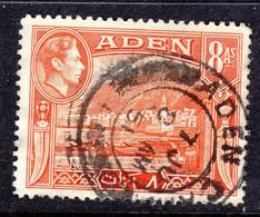 ADEN - 1939 8 ANNA KGVI DEFINITIVE STAMP FINE USED SG 23 REF A - Aden (1854-1963)