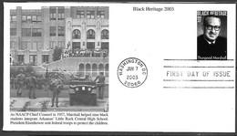 US 2003  Sc#3746  37c Thurgood Marshall On FDC - 2001-2010