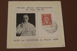 L'Annulation Officielle Du Couronnement De PIE XII  12 Mars 1939 - Lettres & Documents