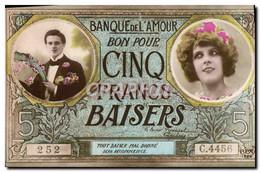 CPA Banque De L&#39Amour Cinq Francs Baisers - Banche