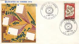REUNION CFA Poste 422 Enveloppe FDC Premier Jour 9 Mars 1974 Saint-Denis Journée Du Timbre 1974 Centre Tri Orléans - Lettres & Documents