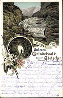 Lithographie Grindelwald Kanton Bern, Gletscher, Grotte, Blumen - BE Berne