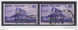 REPUBBLICA:  1951  ARA  PACIS  -  £. 20  VIOLETTO  US. -  RIPETUTO  2  VOLTE  -  SASS. 656 - 1946-60: Usati