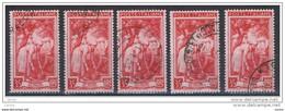 REPUBBLICA:  1950  LAVORO  -  £. 35  ROSSO  US. -  RIPETUTO  5  VOLTE  -  SASS. 645 - 1946-60: Usati