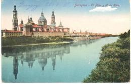 POSTAL   ZARAGOZA  -ESPAÑA  - EL PILAR Y EL RIO EBRO - Zaragoza