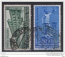 REPUBBLICA:  1950  UNESCO  -  S. CPL. 2  VAL. US. -  SASS. 618/19 - 1946-60: Usati