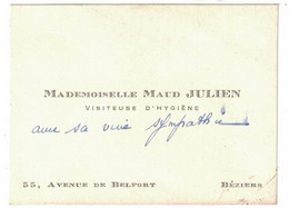 MADEMOISELLE MAUD JULIEN VISITEUSE D'HYGIENE 55 AVENUE DE BELFORT BEZIERS - Visiting Cards