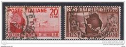 REPUBBLICA:  1949/50  FIERA  DI  BARI  -  2  VAL. US. -  SASS. 610 + 627 - 1946-60: Usati