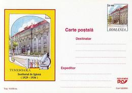 HEALTH, MEDICINE, TIMISOARA HYGIENE INSTITUTE, POSTCARDSTATIONERY, 2001, ROMANIA - Medicina