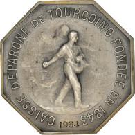 France, Jeton, Caisse D'Épargne De Tourcoing, 1934, SUP, Argent - Other