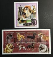 CENTRAFRIQUE 1998 - NEUF**/MNH - Série Complète Mi 1945 / 1952 + BLOC 602 - YT 1205 / 1212 + BF 131 - CHIENS DOGS - Madagascar (1960-...)