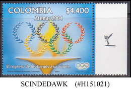 COLOMBIA - 2004 SUMMER OLYMPIC GAMES - 1V - MINT NH - Zomer 2004: Athene
