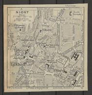 CARTE PLAN 1929 - NIORT - FORT FOULCAULT - DONJON - ÉCOLE NORMALE - HOPITAL CIVIL - Carte Topografiche