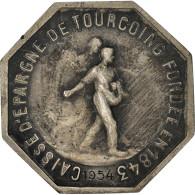 France, Jeton, Caisse D'Épargne De Tourcoing, 1954, TTB+, Argent - Other