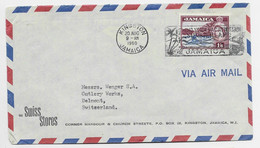 JAMAICA 1/6C SOLO LETTRE COVER AIR MAIL KINGSTON 20 AUG 1960 TO SUISSE - Jamaica (...-1961)