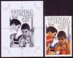 Tonga 1990 Boxing - Proof In Black & White + Specimen - Read Description - Pugilato