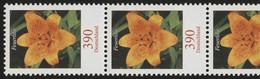 2534 Blumen 390 Cent 5er-Streifen Aus 200er-Rolle Mit GERADER Nummer ** - Rollenmarken