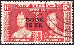 COOK ISLANDS 1937 KGVI 6d Red-Orange SG167 FU - Cookeilanden