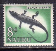 NAURU 1963 1965 FAUNA ANIMALS ANIMALI BLACK LIZARD LUCERTOLA NERA 8p MNH - Nauru
